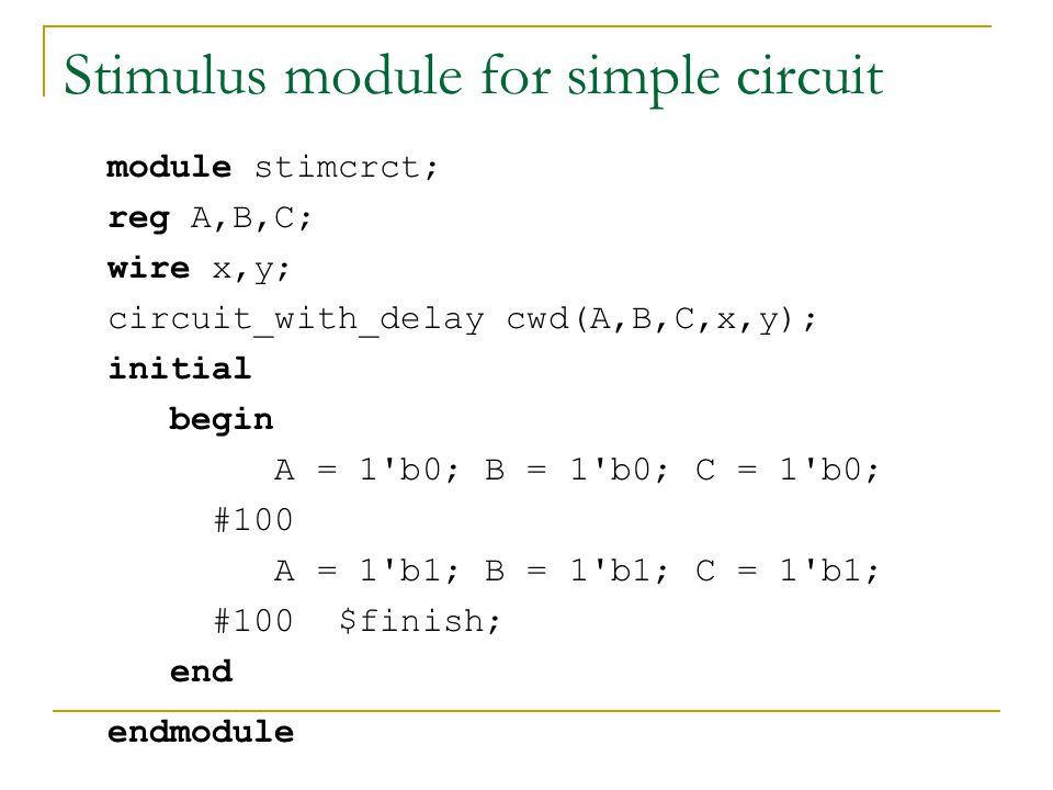 Stimulus module for simple circuit