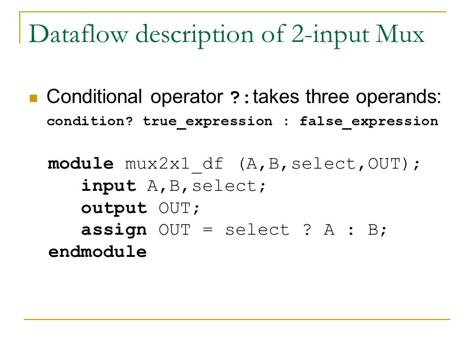 Dataflow description of 2-input Mux