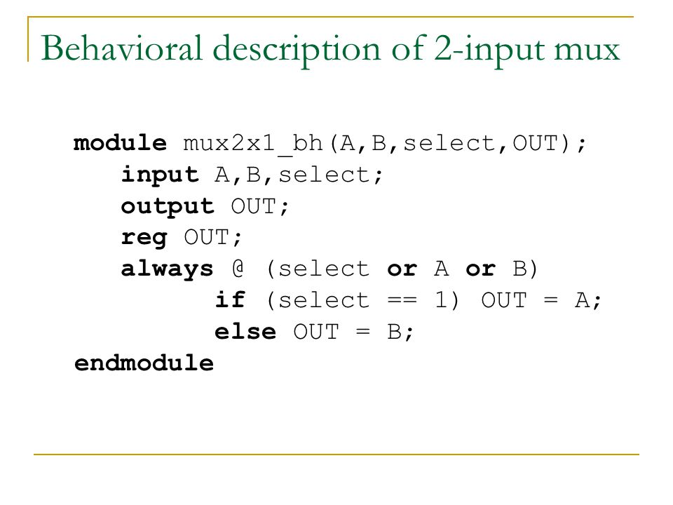 Behavioral description of 2-input mux