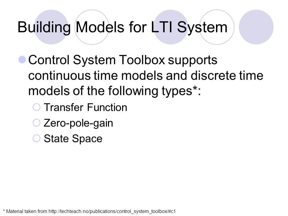 Building Models for LTI System