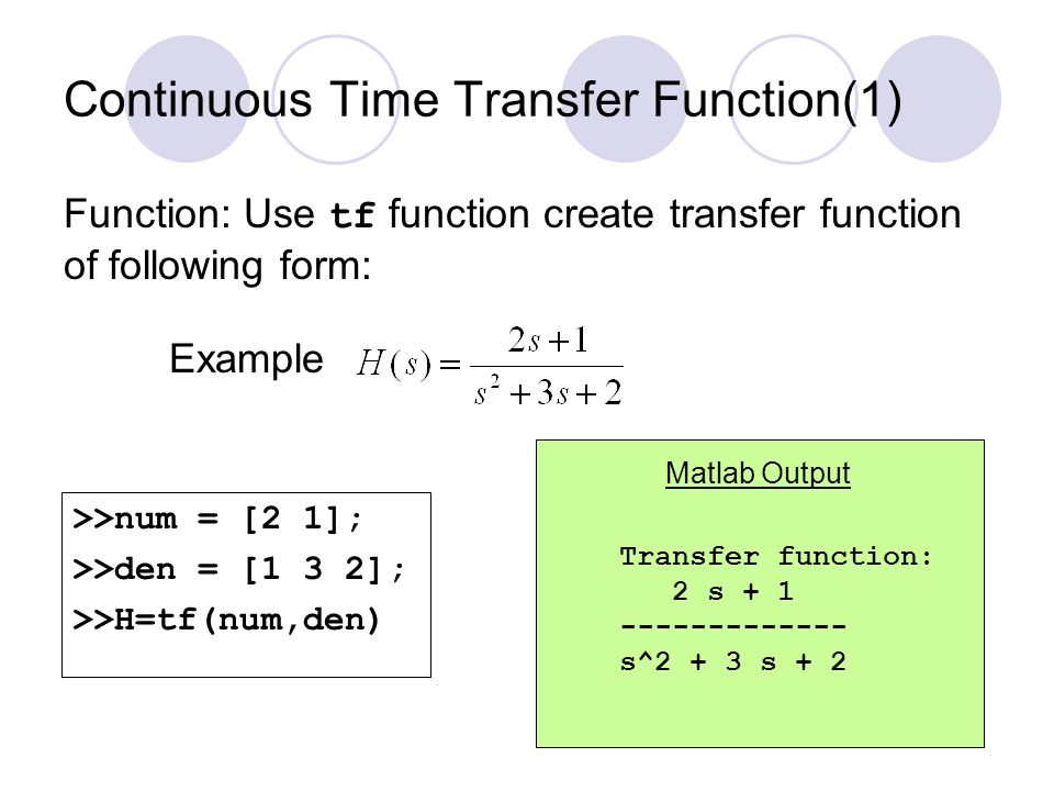 Continuous Time Transfer Function(1)