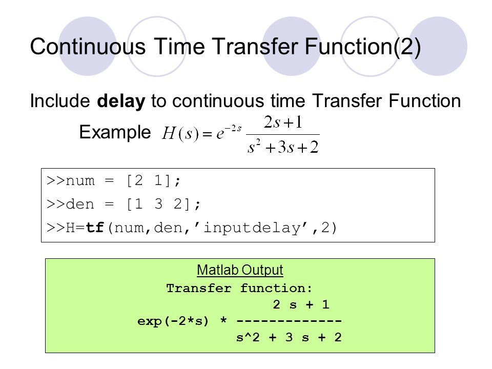 Continuous Time Transfer Function(2)
