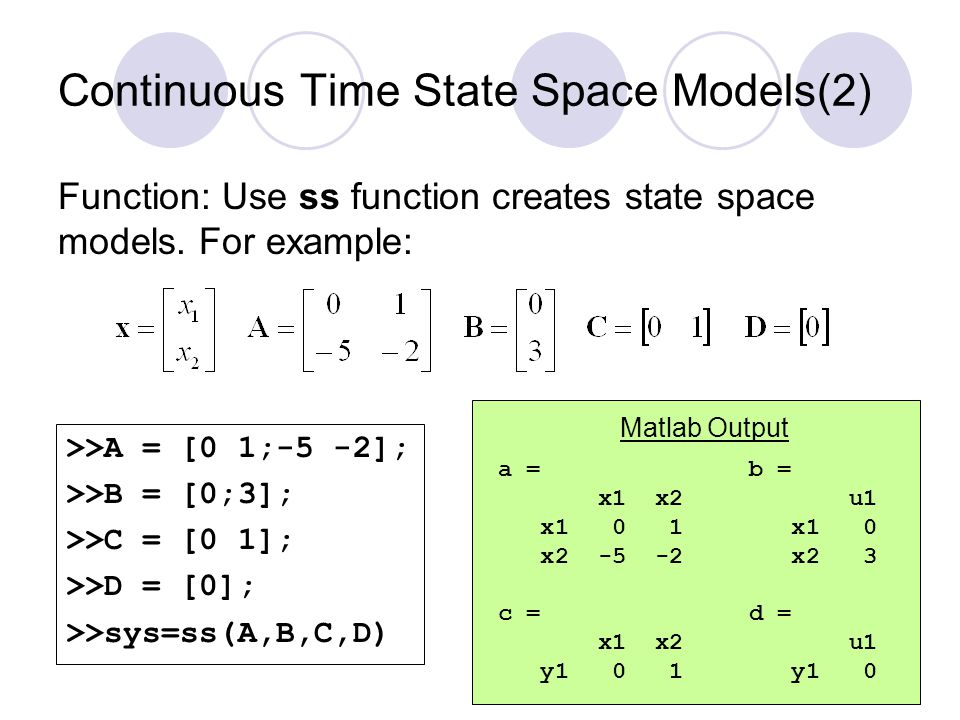 Continuous Time State Space Models(2)