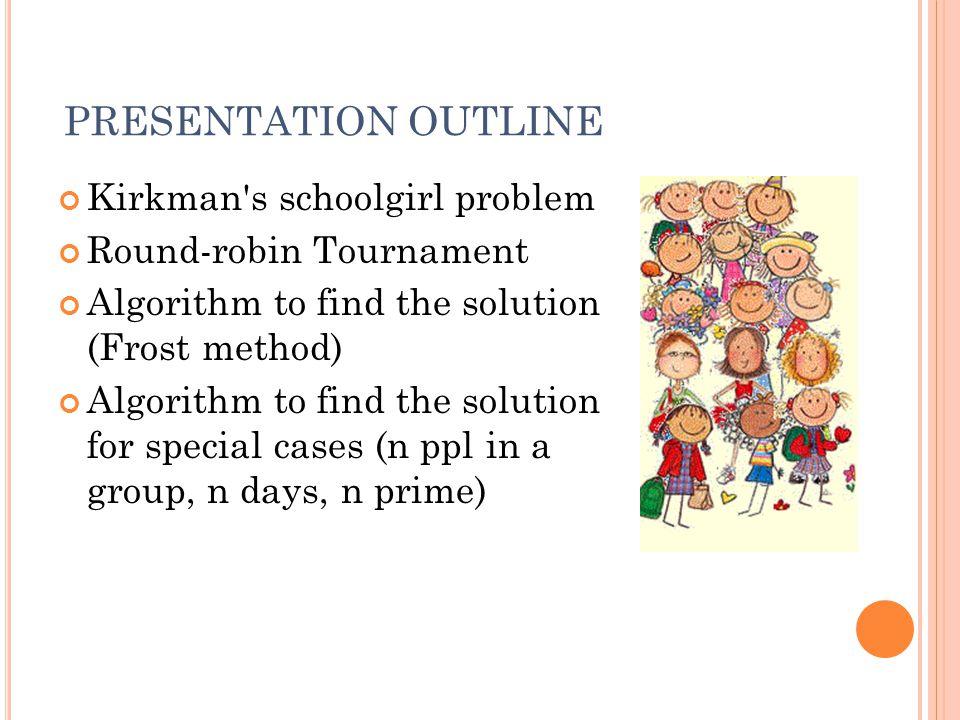 PRESENTATION OUTLINE Kirkman s schoolgirl problem