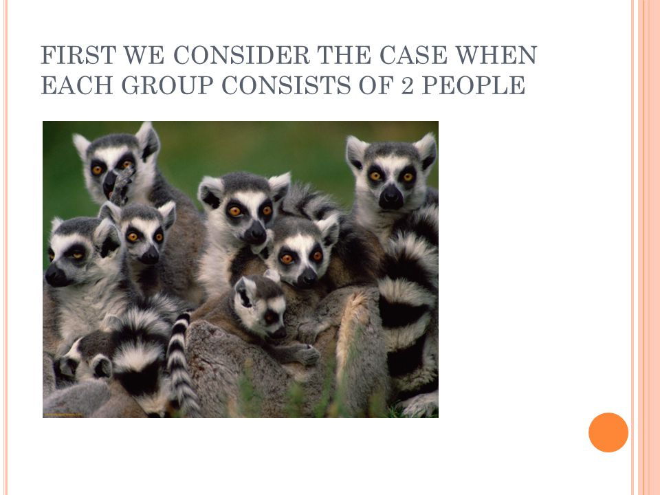 FIRST WE CONSIDER THE CASE WHEN EACH GROUP CONSISTS OF 2 PEOPLE