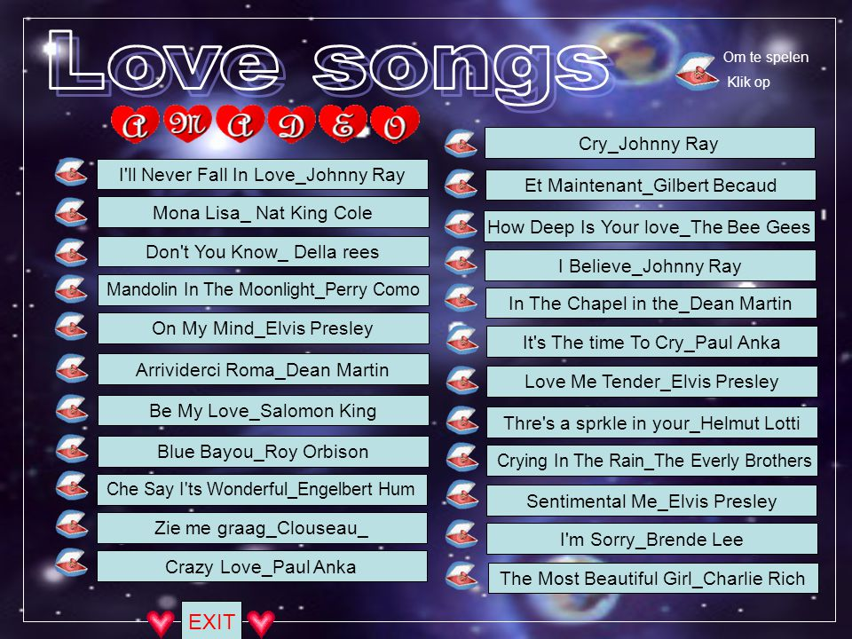 Love songs EXIT Cry_Johnny Ray I ll Never Fall In Love_Johnny Ray