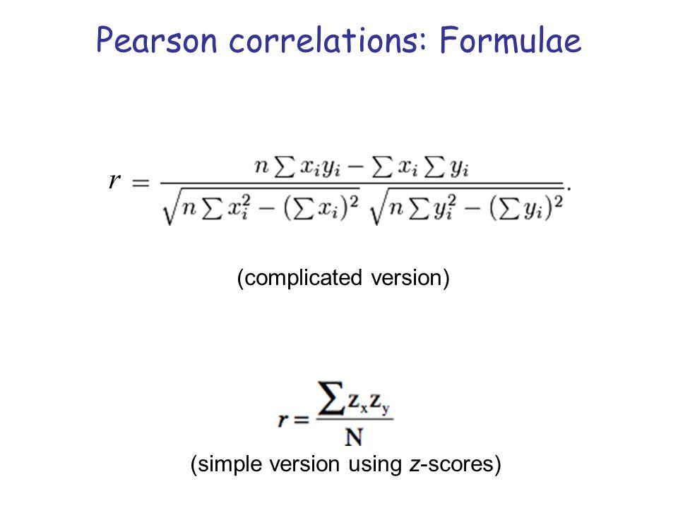 Pearson correlations: Formulae