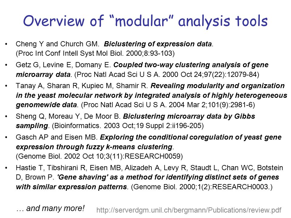Overview of modular analysis tools