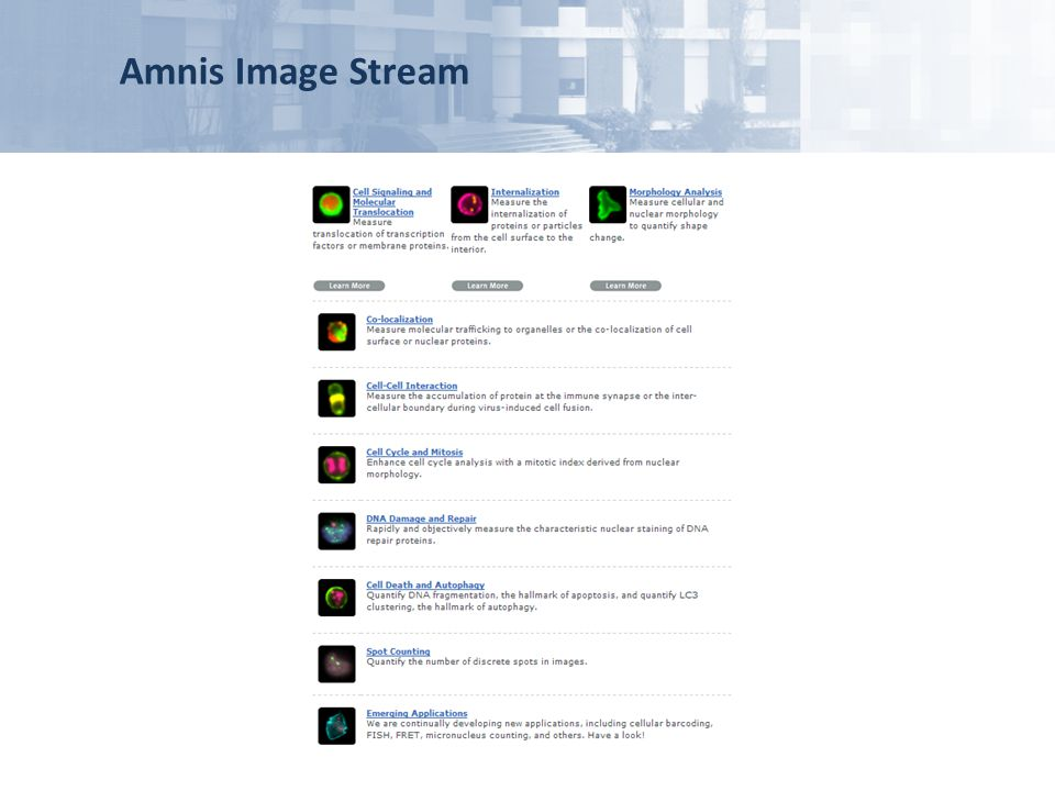 Amnis Image Stream power of this technology has in the last years been confirmed by the increasing number of applications being published,