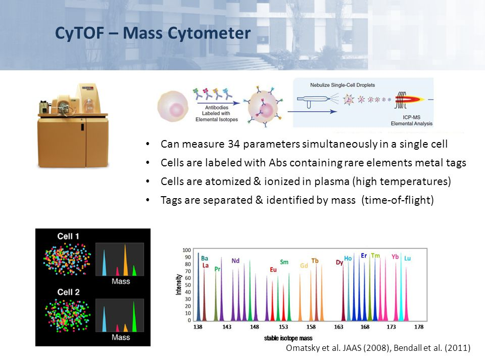 CyTOF – Mass Cytometer Can measure 34 parameters simultaneously in a single cell. Cells are labeled with Abs containing rare elements metal tags.