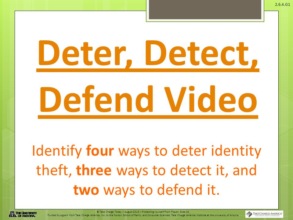 Deter, Detect, Defend Video