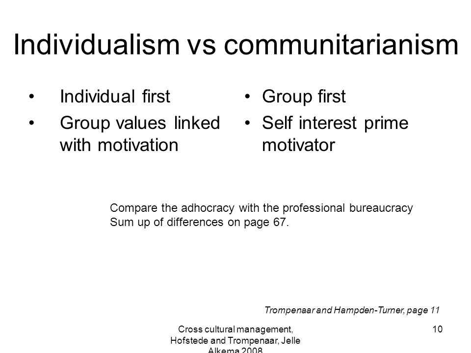 Individualism vs communitarianism