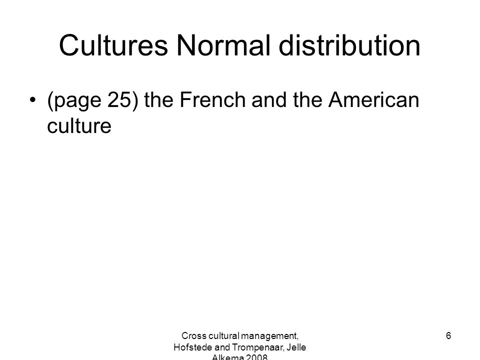 Cultures Normal distribution