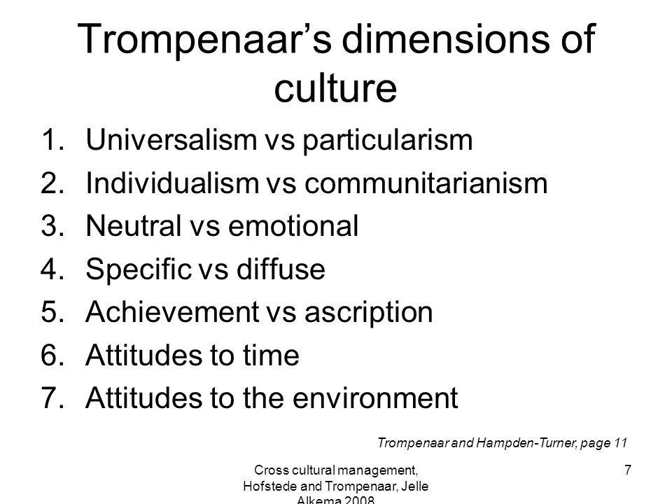 Trompenaar's dimensions of culture