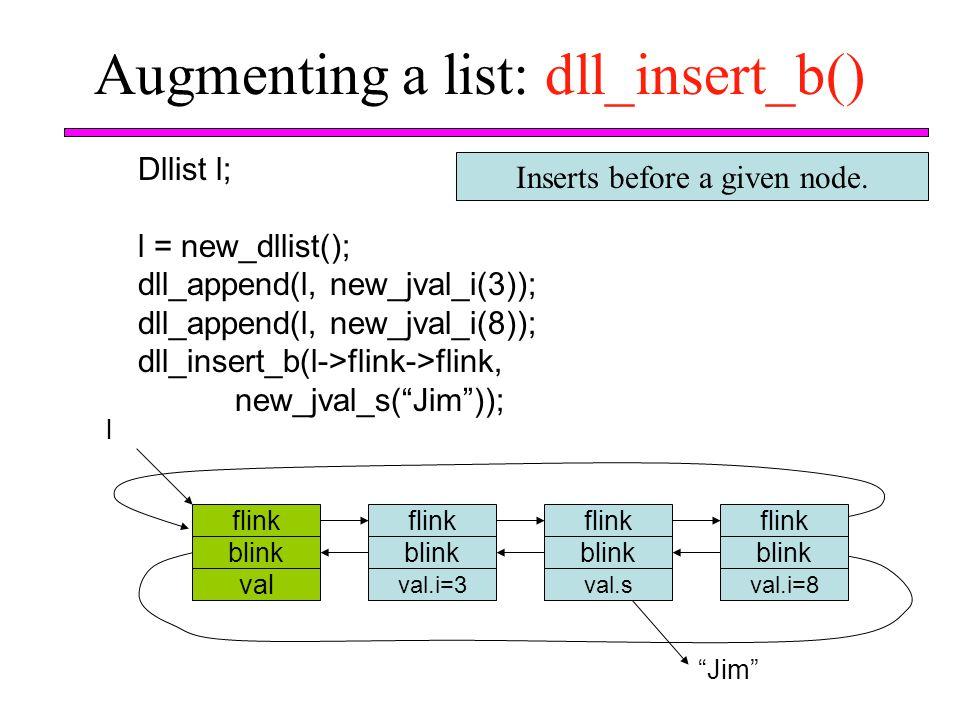 Augmenting a list: dll_insert_b()