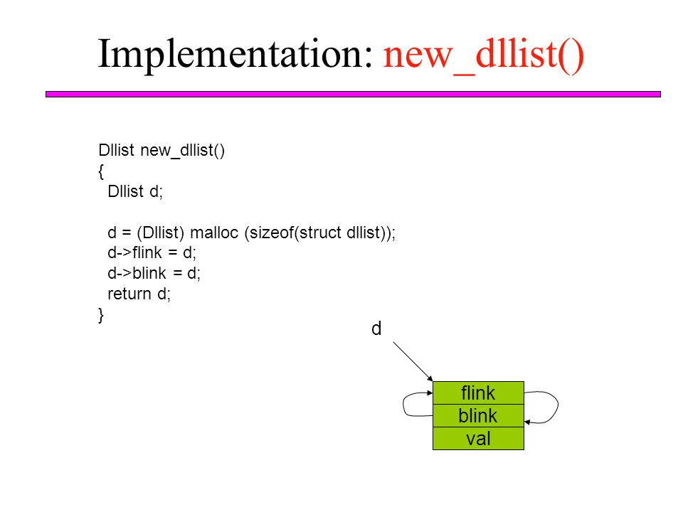 Implementation: new_dllist()
