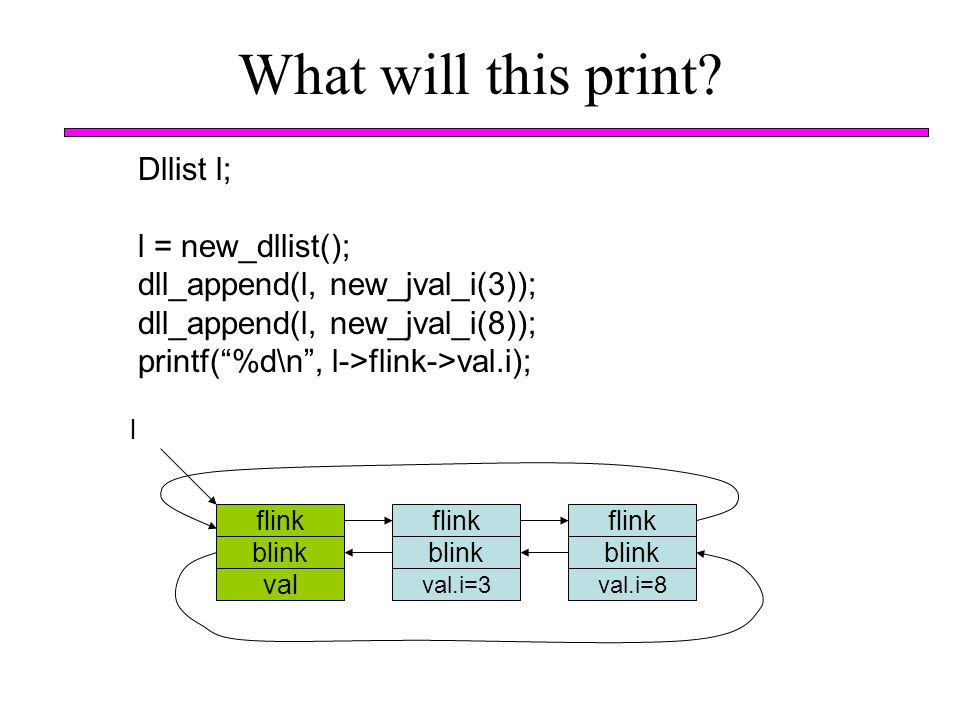 What will this print Dllist l; l = new_dllist();