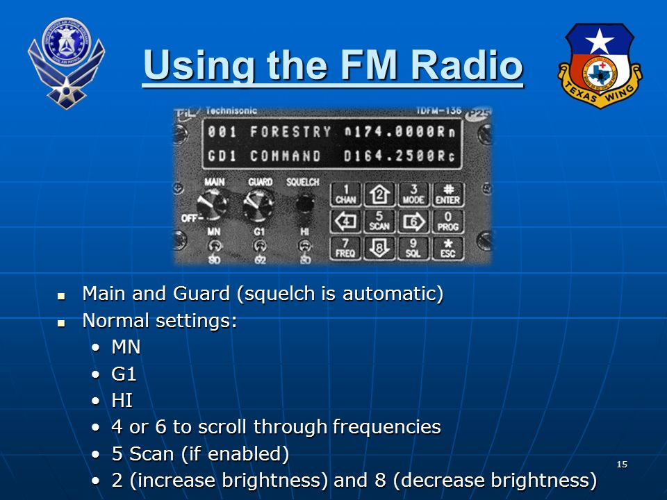 Using the FM Radio Main and Guard (squelch is automatic)