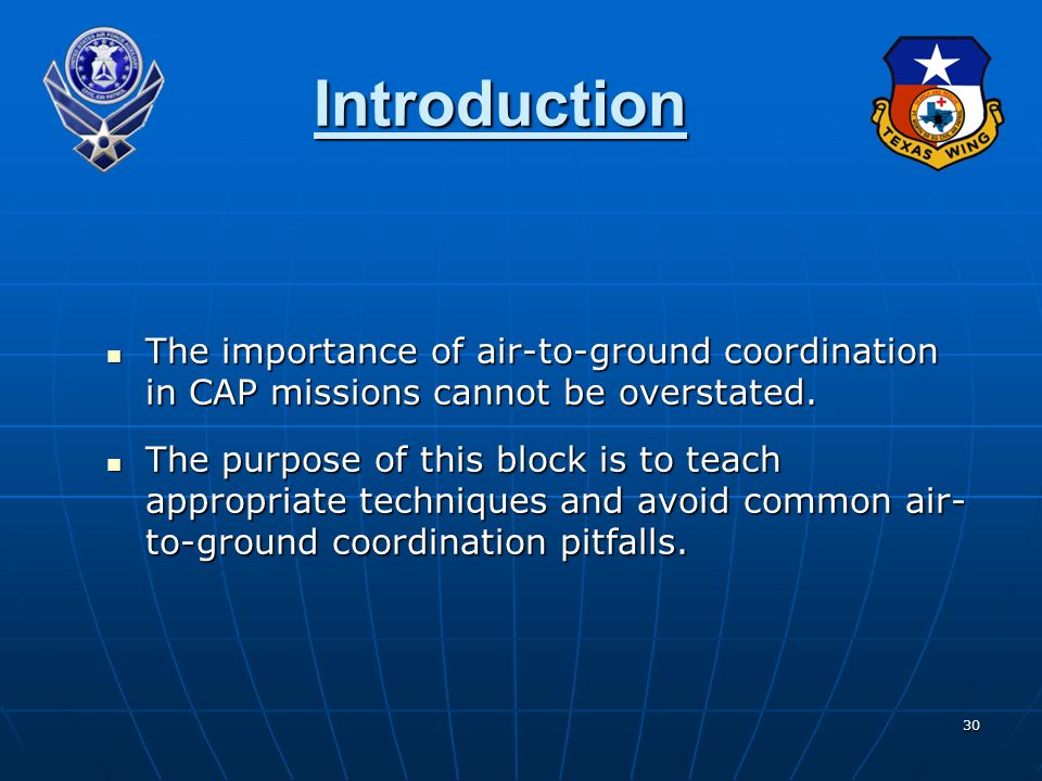 Introduction The importance of air-to-ground coordination in CAP missions cannot be overstated.