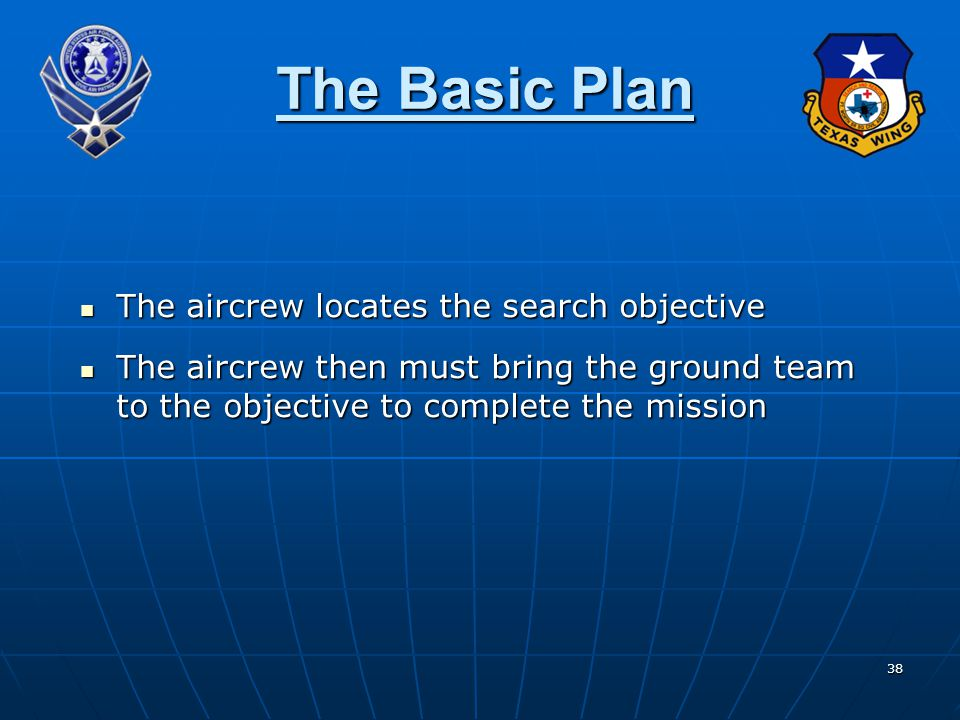 The Basic Plan The aircrew locates the search objective