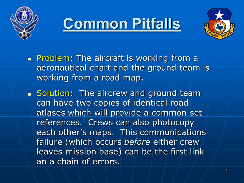 Common Pitfalls Problem: The aircraft is working from a aeronautical chart and the ground team is working from a road map.