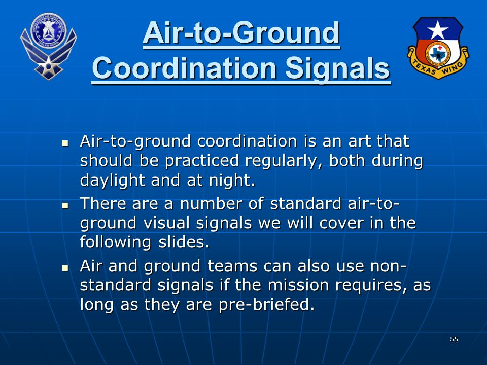 Air-to-Ground Coordination Signals