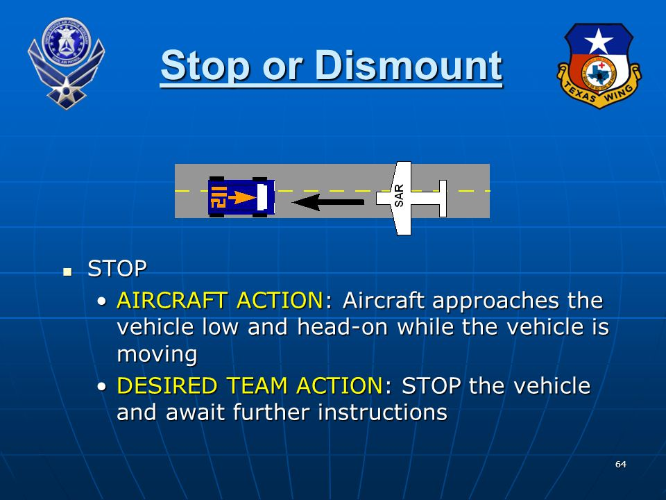 Stop or Dismount STOP. AIRCRAFT ACTION: Aircraft approaches the vehicle low and head-on while the vehicle is moving.