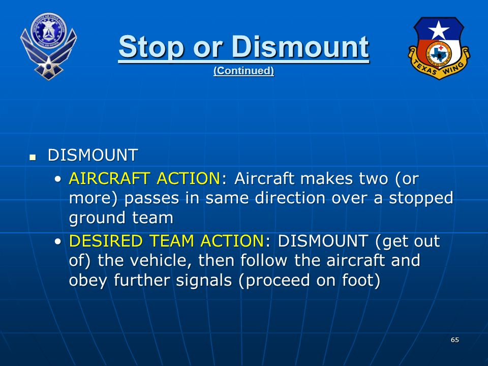 Stop or Dismount (Continued)