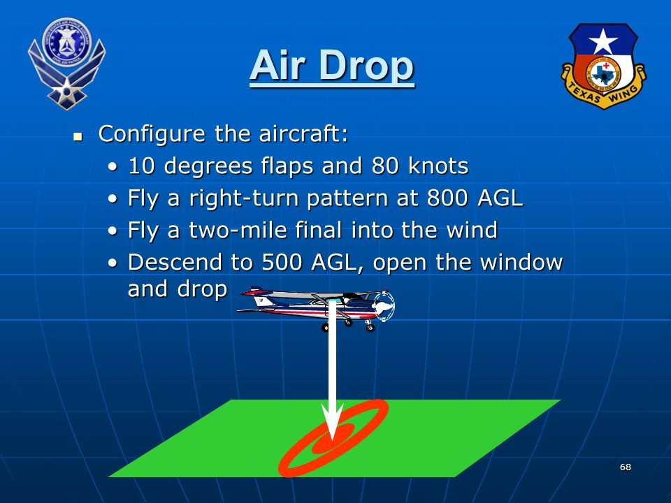 Air Drop Configure the aircraft: 10 degrees flaps and 80 knots