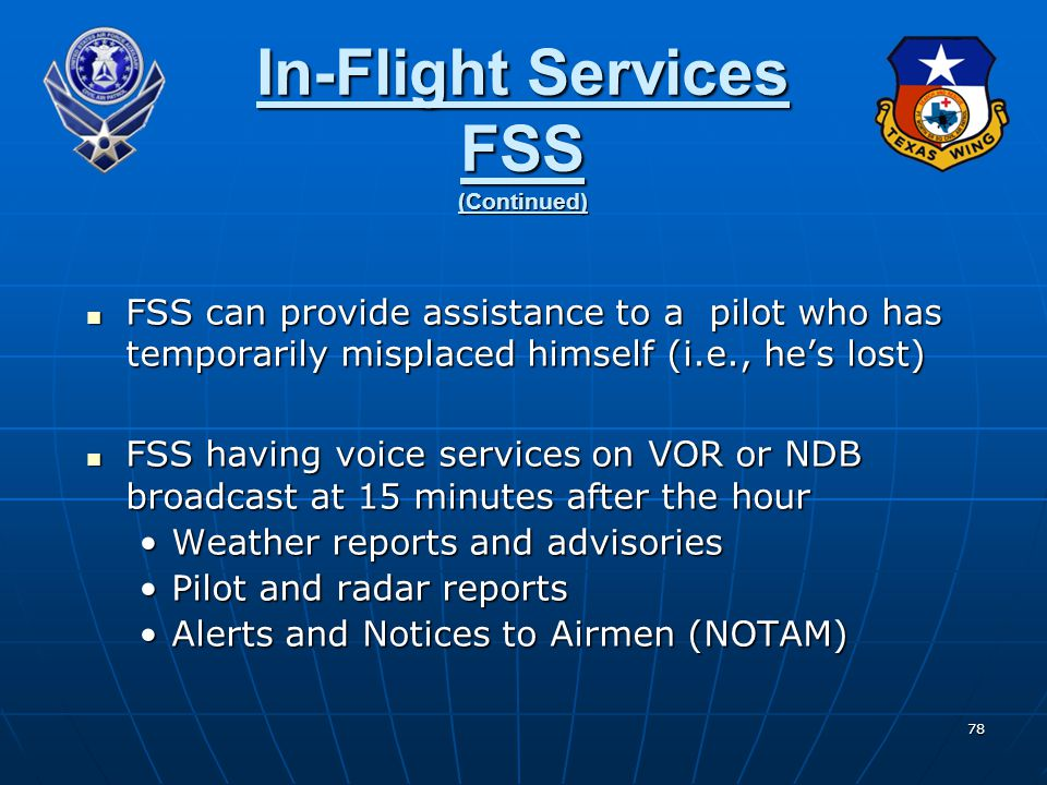 In-Flight Services FSS (Continued)