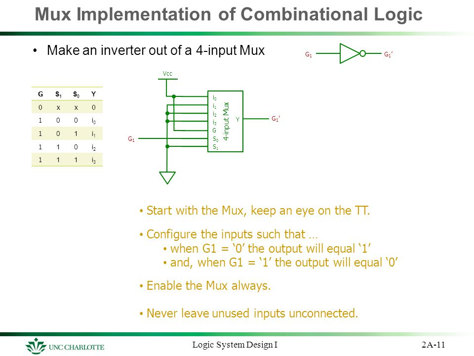 Mux Implementation of Combinational Logic