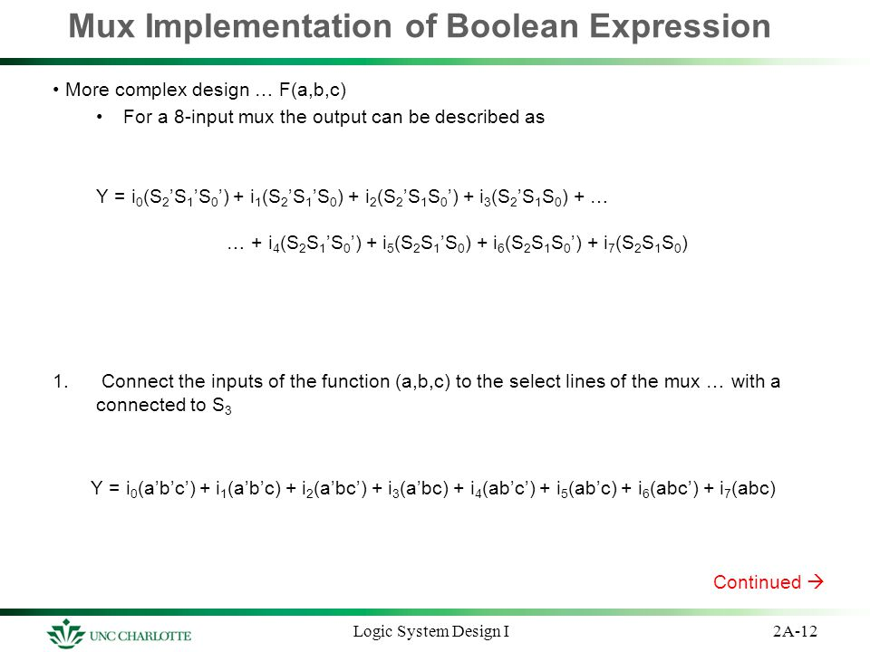 Mux Implementation of Boolean Expression