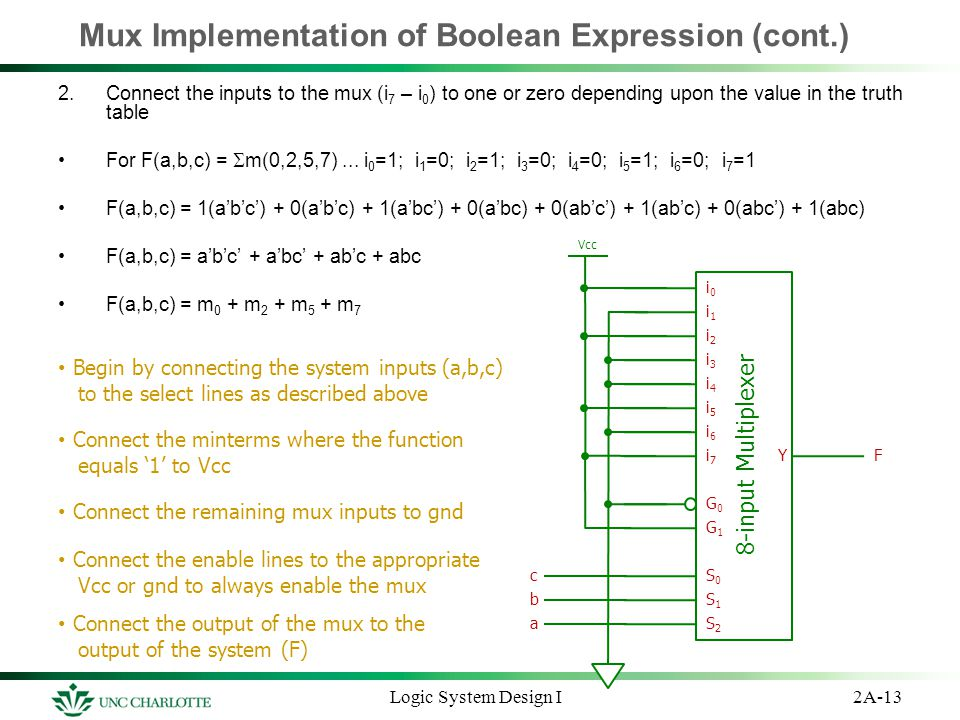 Mux Implementation of Boolean Expression (cont.)