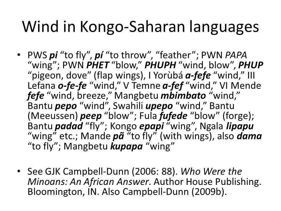 Wind in Kongo-Saharan languages