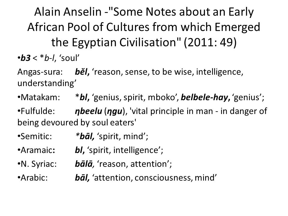 Alain Anselin - Some Notes about an Early African Pool of Cultures from which Emerged the Egyptian Civilisation (2011: 49)