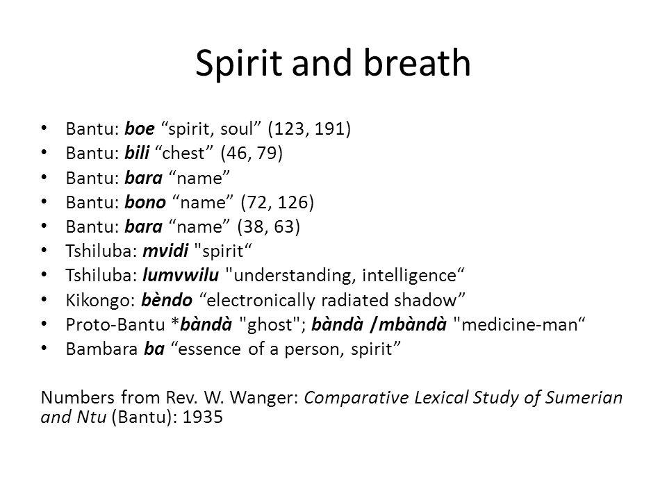 Spirit and breath Bantu: boe spirit, soul (123, 191)