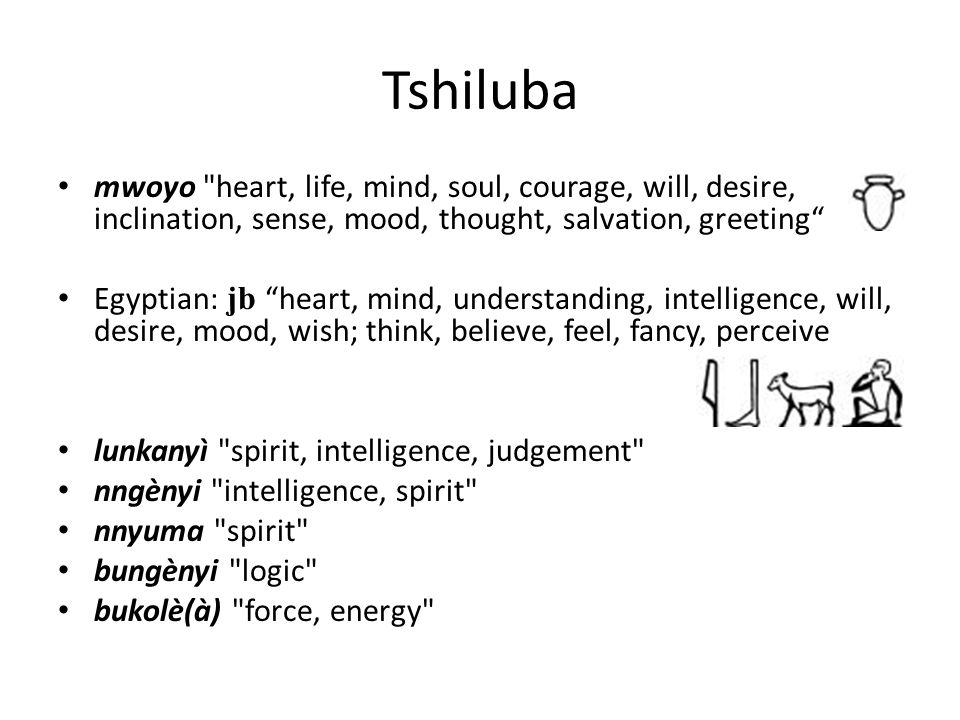 Tshiluba mwoyo heart, life, mind, soul, courage, will, desire, inclination, sense, mood, thought, salvation, greeting