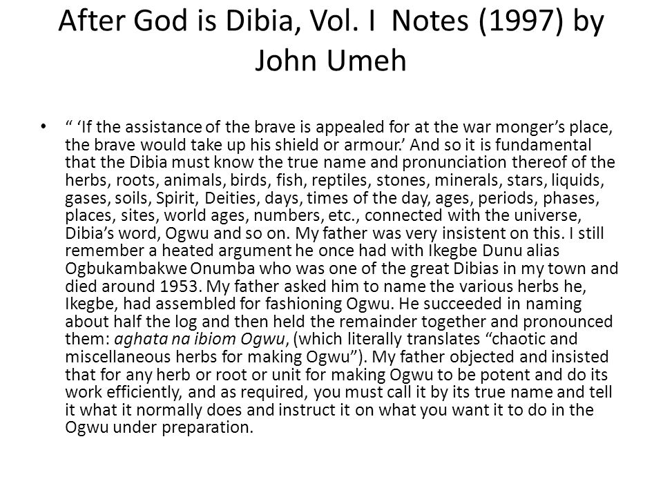 After God is Dibia, Vol. I Notes (1997) by John Umeh