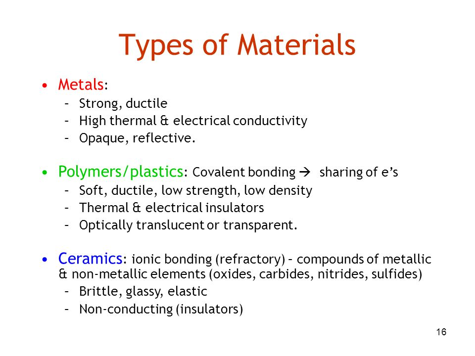 Types of Materials Metals: