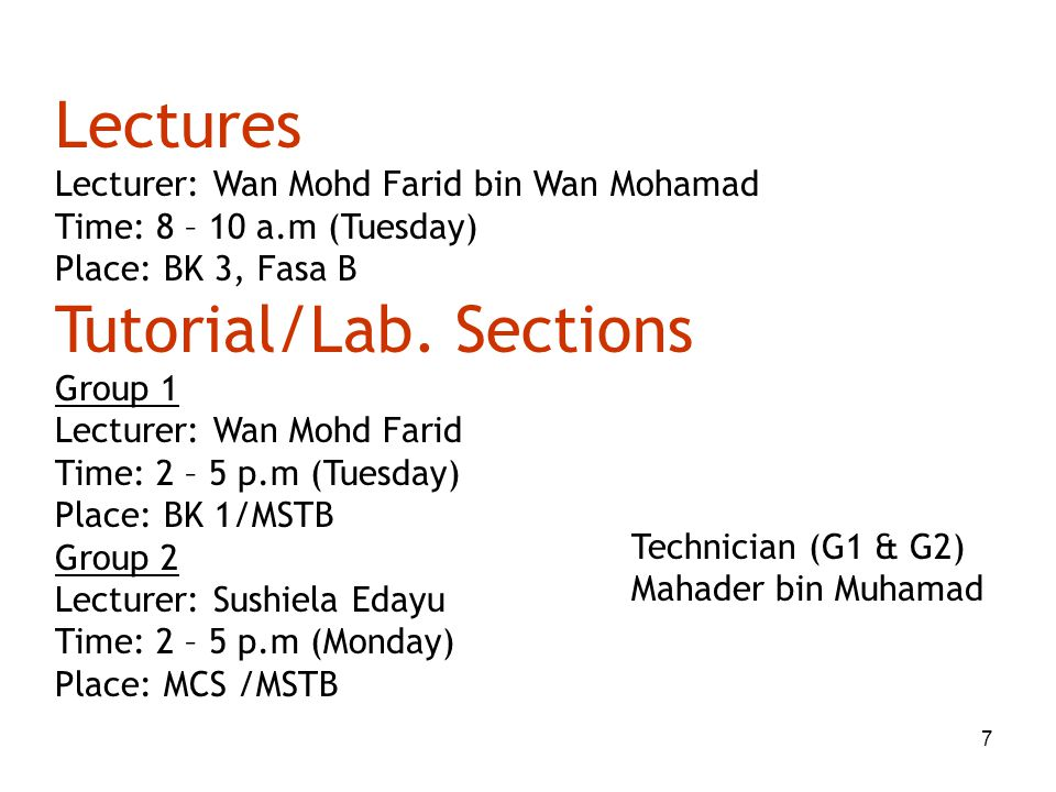 Tutorial/Lab. Sections
