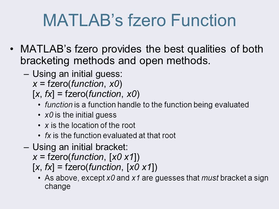 MATLAB's fzero Function