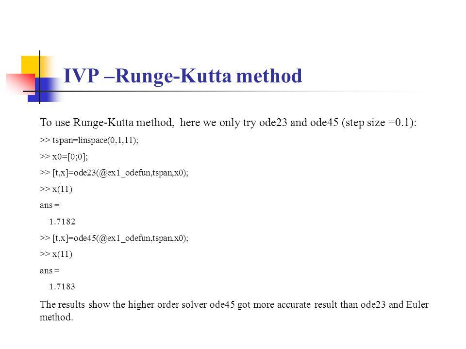 IVP –Runge-Kutta method