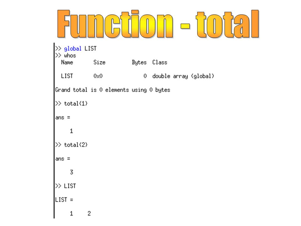 Function - total