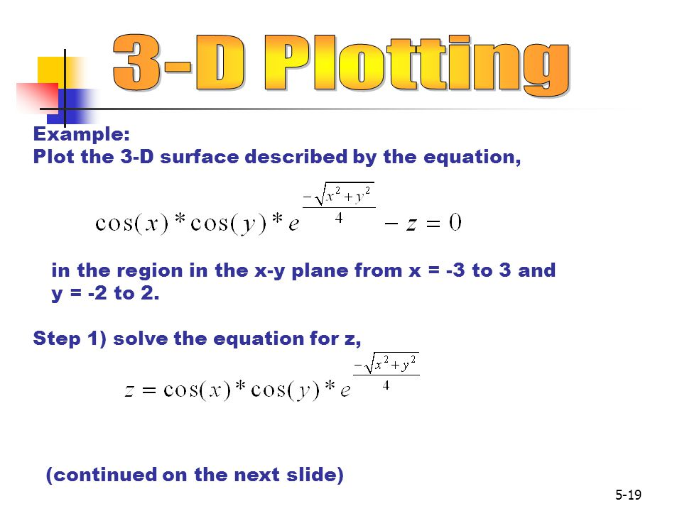 3-D Plotting Example: Plot the 3-D surface described by the equation,