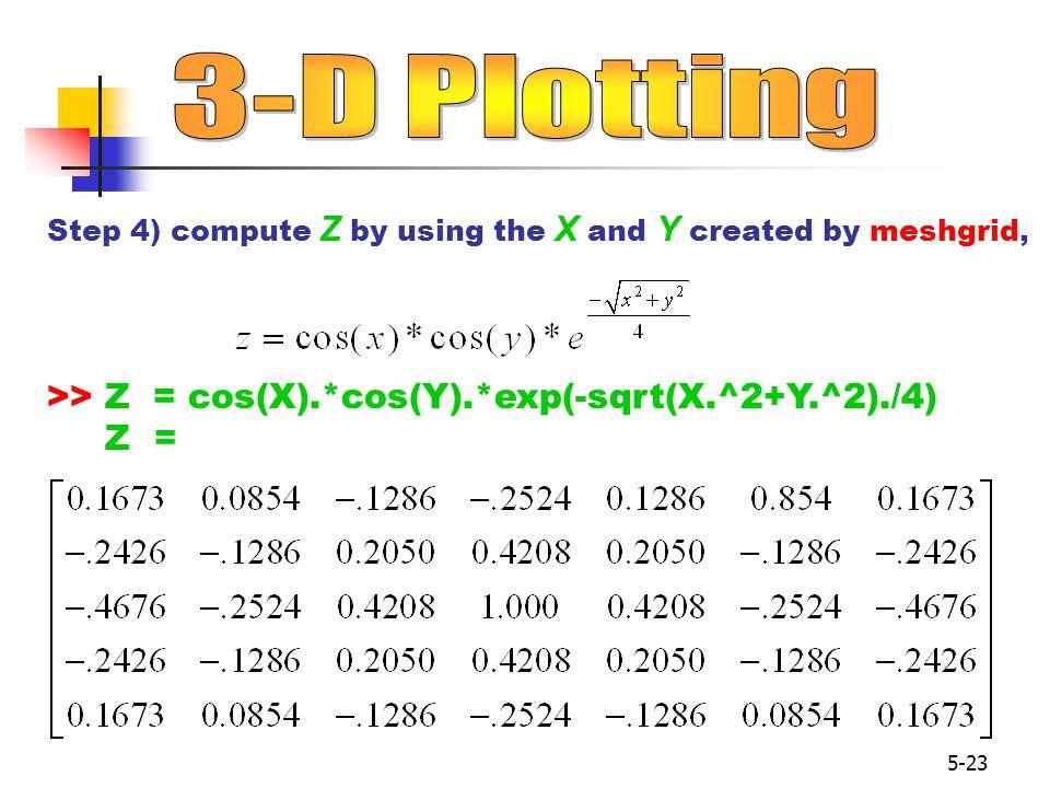 3-D Plotting >> Z = cos(X).*cos(Y).*exp(-sqrt(X.^2+Y.^2)./4) Z =