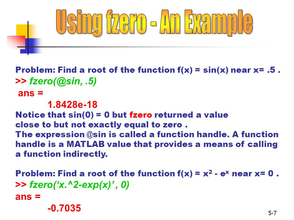 Using fzero - An Example