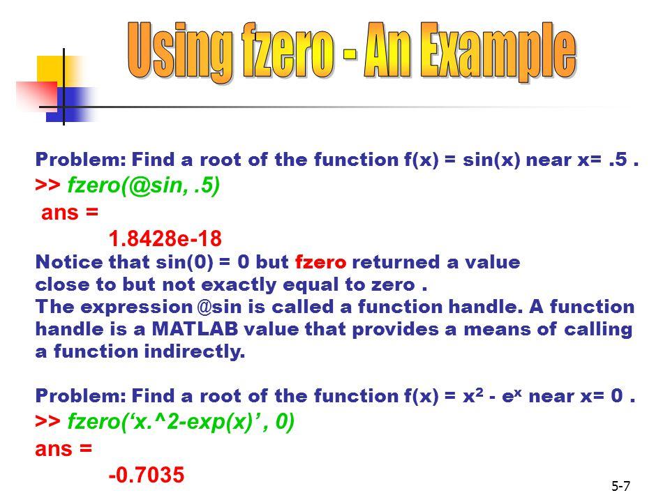Using fzero - An Example