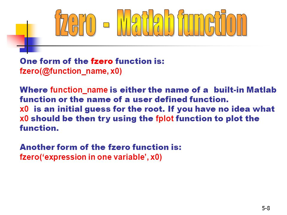 fzero - Matlab function