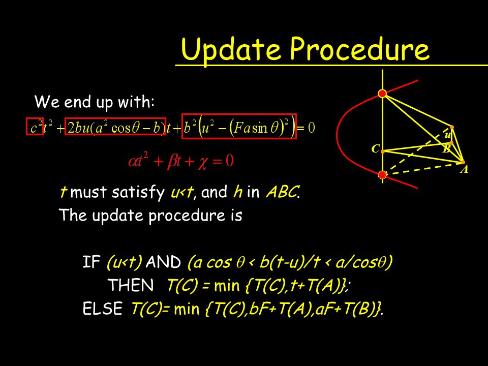 Update Procedure We end up with: t must satisfy u<t, and h in ABC.