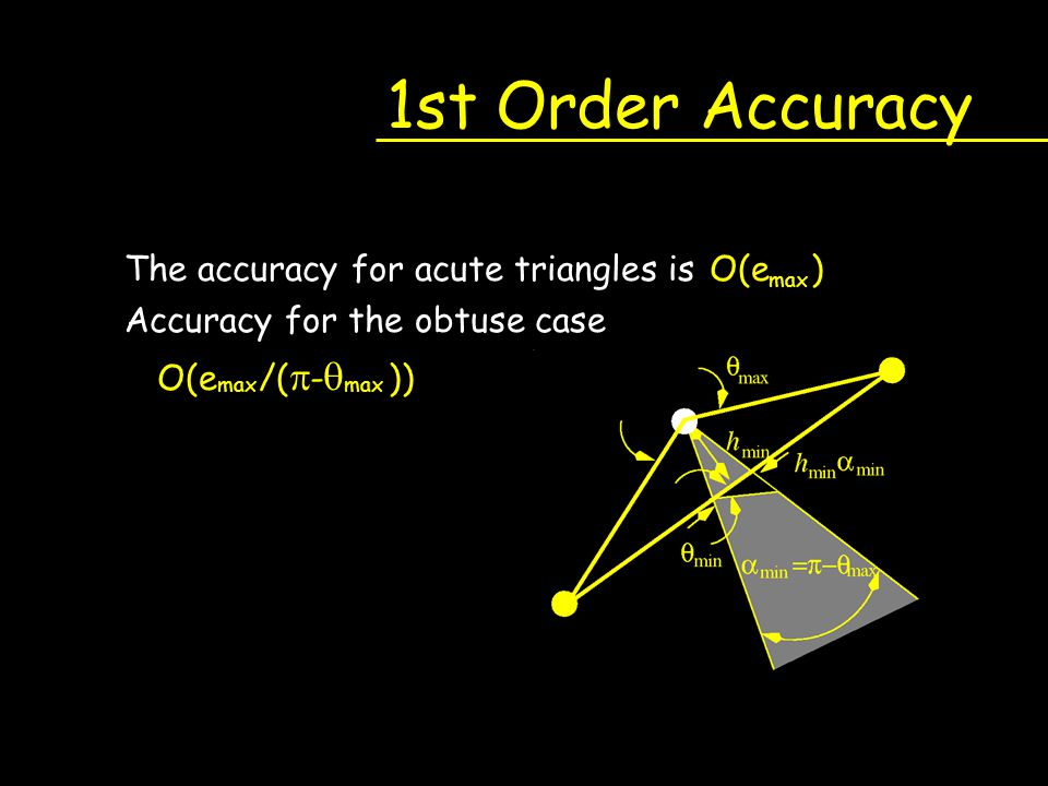 1st Order Accuracy The accuracy for acute triangles is O(e )